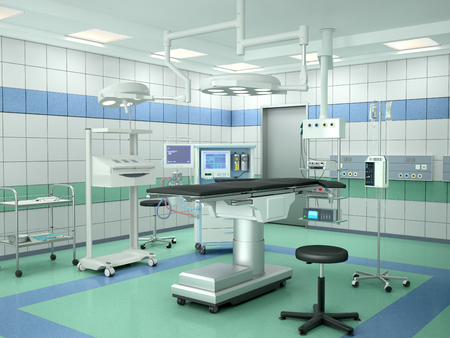operating room with equipment. 3d illustration