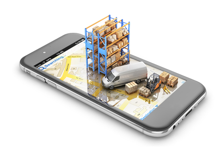 Delivery concept. Delivery transport with cardboard boxes on the screen of phone.3d illustration