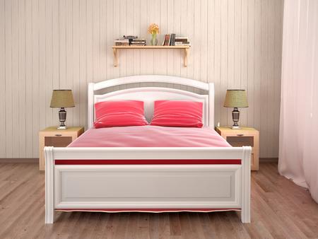 Bedroom interior design with a bed. 3d illustration