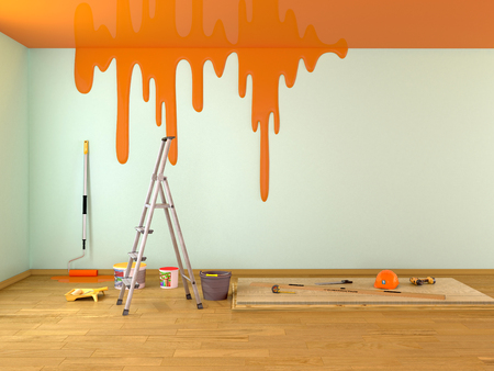 painting of the ceiling in a room with repair. 3d illustration Imagens