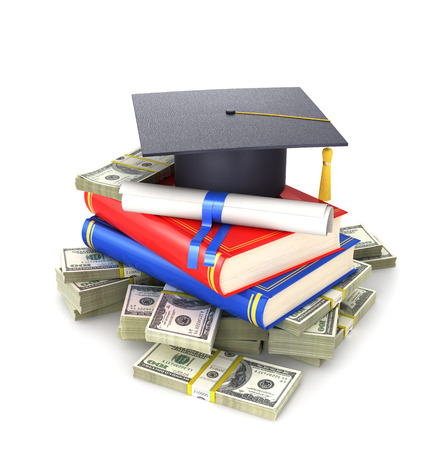 Concept, the cost of education. A graduates cap with a diploma and books on a bundle of dollar bill. 3d illustration