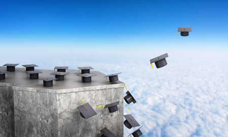 concept of the road into an independent life. The loss of success and limited opportunities, a career after graduation. Graduation hats fall from the rock and fly down. 3d illustration