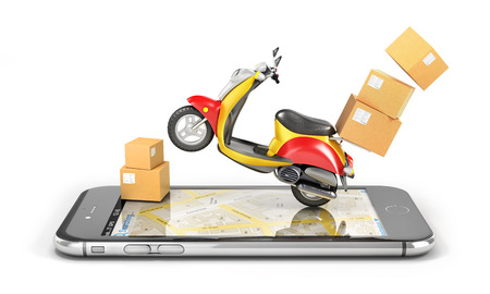 Delivery concept. Fast urban delivery. Motorbike with cardboard box. 3d illustration Stock Photo