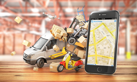 Delivery concept. Delivery transport with cardboard boxes near the phone.3d illustration