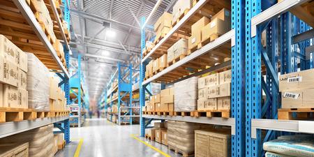Empty warehouse full of cargo. 3d illustration Reklamní fotografie
