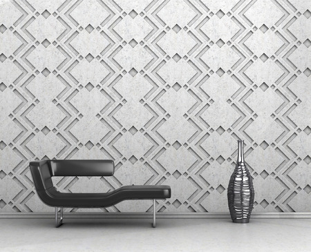 Decorative panels in the interior. Black sofa, a vase on a background of concrete panels. 3D illustration