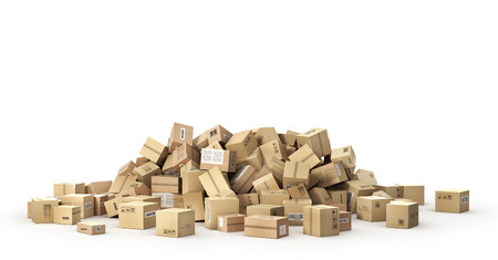 Logistic concept. Big pile of cardboard boxes. 3d illustration Stock Photo