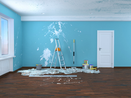 Repair in the room. Painting and plastering of walls. 3d illustration Banco de Imagens