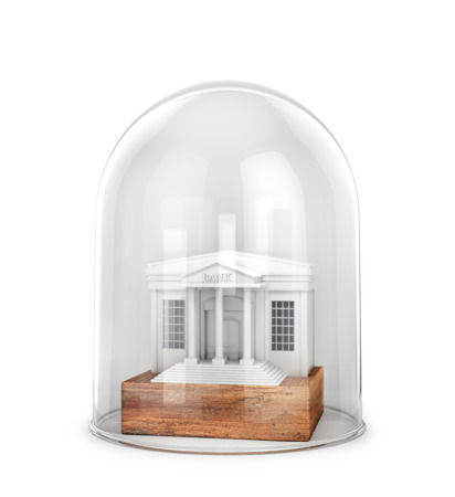 The concept of storage and protection of banking cases. Bank under the protective glass. 3d illustration