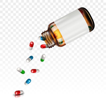 Pillen fallen aus einem Glas auf einem transparenten Hintergrund