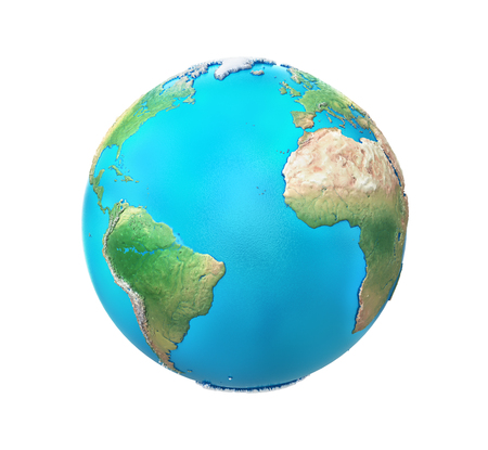 Planet with relief isolated on a white background. 3d illustration