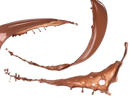 Chocolate drink splashes isolated