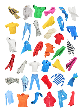 Colored clothes in the fall isolated on white background 스톡 콘텐츠