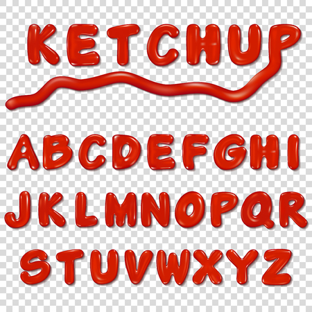 Alphabet written by ketchup sauce 向量圖像