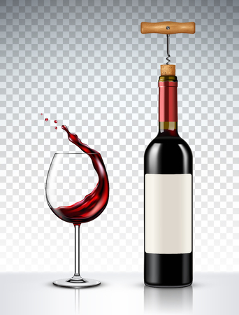 Red Wine bottle and glass on transparent background Фото со стока - 94990081