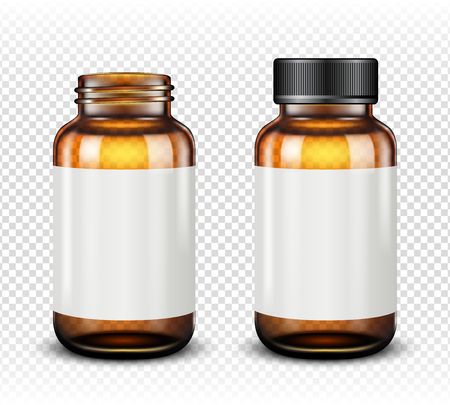 Medicine bottle of brown glass isolated on transparent background Çizim