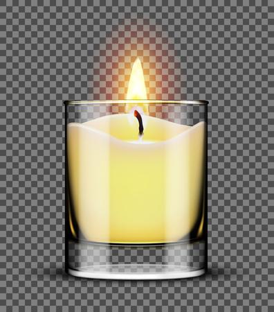 Brennende Kerze in einem Glas isoliert auf transparenten Hintergrund