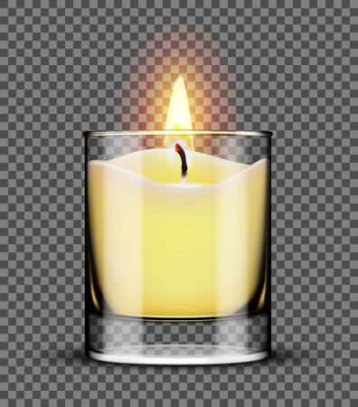Burning candle in a glass jar isolated on transparent background