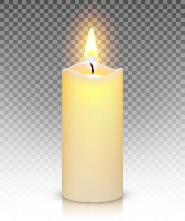 Bougie brûler avec le feu réaliste isolé sur fond transparent Vecteurs
