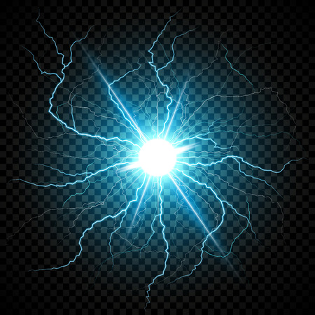 Blue Electric flash of lightning on a dark transparent background. Vector circle lightning