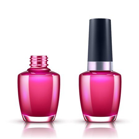 Nail polish in glass bottle open and closed isolated on white background Illustration