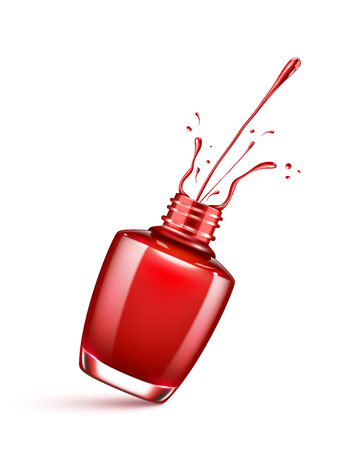 red nail polish bottle with splash isolated on white Ilustração