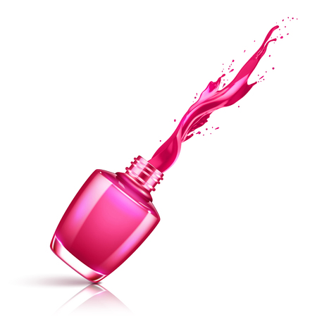 Nail polish splashing from the bottle Vectores