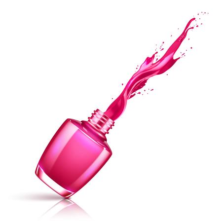 Nail polish splashing from the bottle Illustration