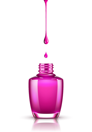 Bottle of nail polish and drop isolated on white background