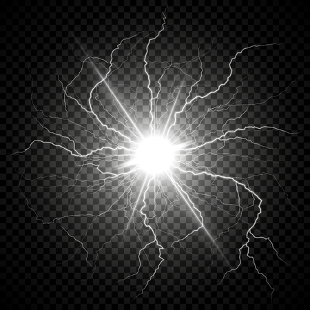 Electric flash of lightning on a dark transparent background. Vector circle lightning