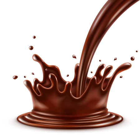 Hot chocolate splash with pouring, isolated on white background