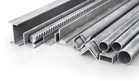 Rolled metal products. Steel profiles and tubes. 3d illustration