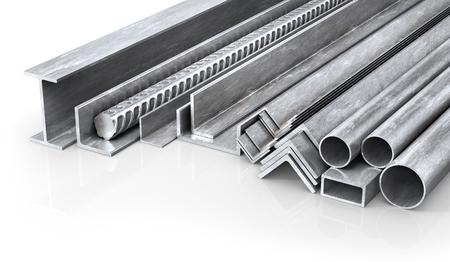 Wyroby metalowe walcowane. Profile i rury stalowe. Ilustracja 3D