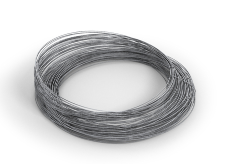 Rolls of metal wire isolated on white. 3d illustration