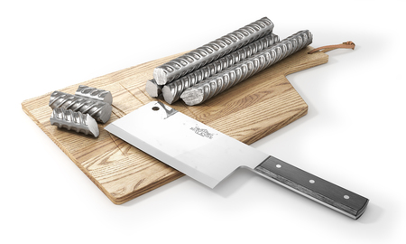 Concept of cutting of metal and sharp knife. Meat knife cutting metal armature. 3d illustration Stock Photo