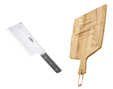 Meat cleaver and wood chopping board. 3d illustration Stock Photo
