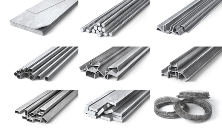 Rolled metal products. Steel profiles and tubes. 3d illustration Stock Illustration - 94983403