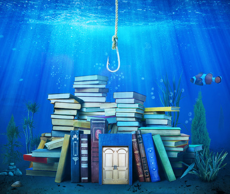 A fishing hook stretches to a flooded pile of books against the background of the underwater world.
