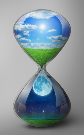 The hourglass depicts the change of day and night.
