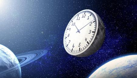 De maan in de vorm van een klok tegen de achtergrond van de kosmos.