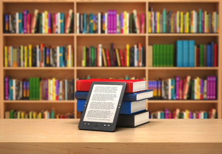 Book reader on the blurred background; 3d illustration Stock Photo