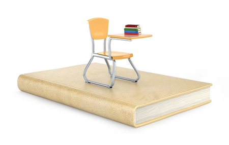 School chair on the book, 3d illustration Stock Photo
