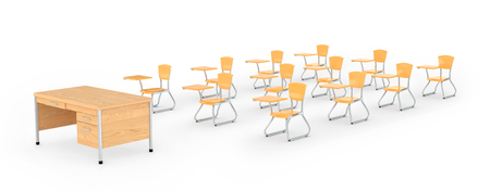 Desk and school chairs on the white background. 3D illustration