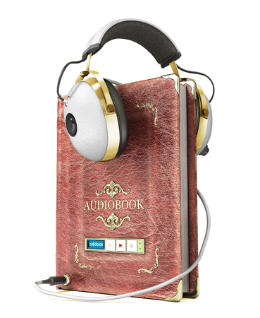 Audiobook concept. Book with headphones isolated on a white. 3d illustration Stock Photo