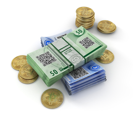 Stack of bitcoin bills isolated on a white background. 3d illustration Stock Photo