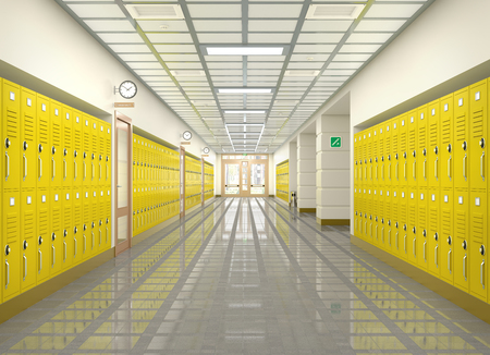 School corridor interior. 3d illustration Stock Illustration - 94984487