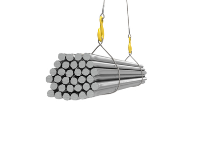 metall armature on the crane 3d illustration