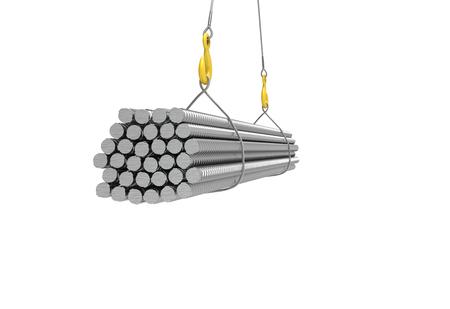 metall armature on the crane 3d illustration