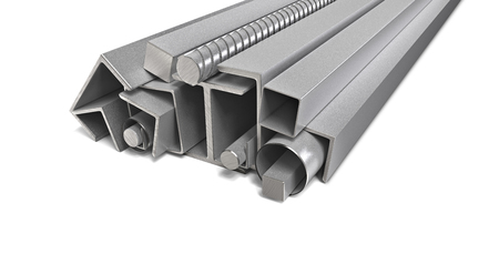 metal pipes stack isolated 3d illustration Stock Photo