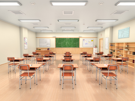 School classroom interior. 3d illustration Stock Photo